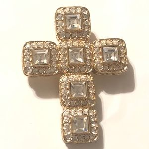 St. John Gold & Crystal Cross Pendant